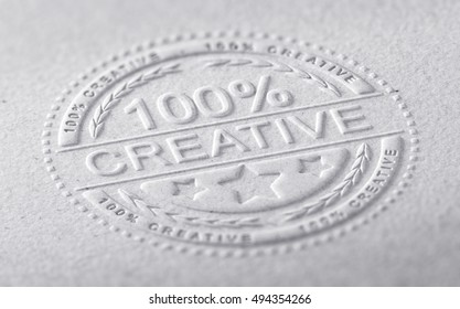 3D illustration of a stamp embossed on a paper texture with the text one hundred percent creative, horizontal image. Communication concept for creative advertising company
