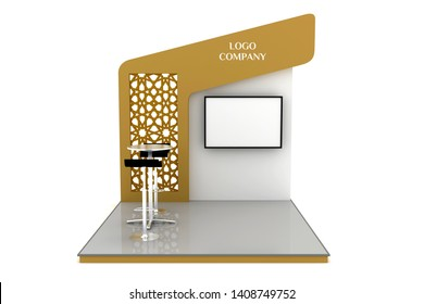 3d illustration stand booth backdrop islamic ornament with LED TV and barstool dealing table. High resolution image isolated.