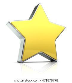 3d illustration of star over white background