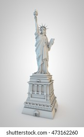 3d illustration of the statue of liberty isolated on white background