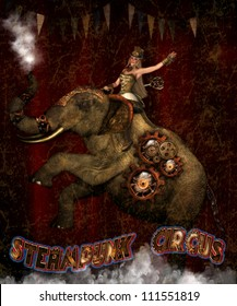 3d illustration of a Steam punk Female riding a mechanical circus elephant.  The elephant is blowing steam out of his truck and the female has a wind up key in her back.  Steam punk Circus.