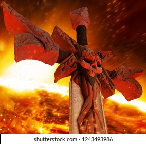 3d illustration of a steel demon sword with skull in stone with red fire highlights angle view on fire inferno background.