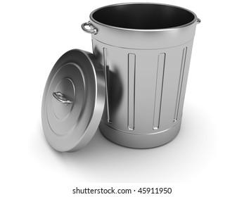 3d illustration of steel trash can over white background