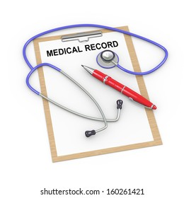 3d illustration of stethoscope, pen and medical history record clipboard