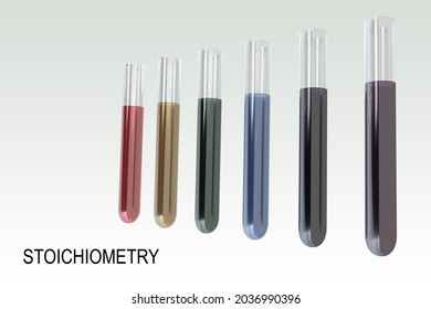 3D illustration of STOICHIOMETRY script below six test tubes containing colored liquids, isolated over pale green gradient.
