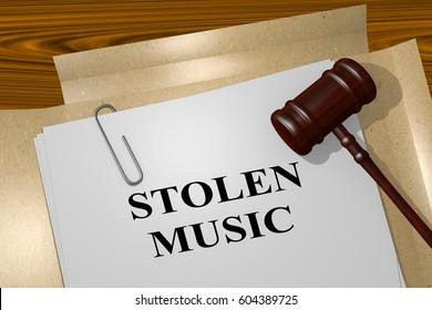 "3D illustration of ""STOLEN MUSIC"" title on legal document"
