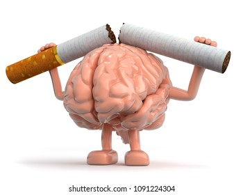 3D Illustration stop smoking brain