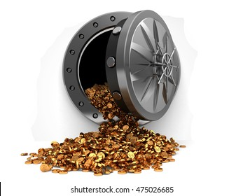 3d illustration of storage full of coins with vault door, over white background