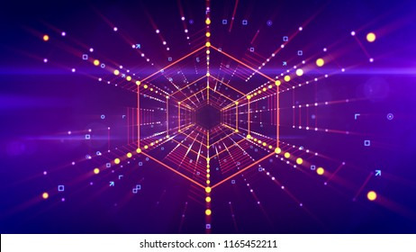 3d illustration of a straight hexagonal neon tunnel stretched in the bright violet background with golden lines of shining dots. It has linked red grid and looks like a futuristic time tunnel.