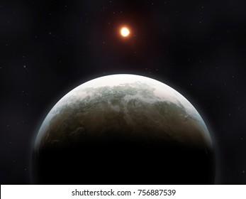 3D Illustration of a strange planet in deep space