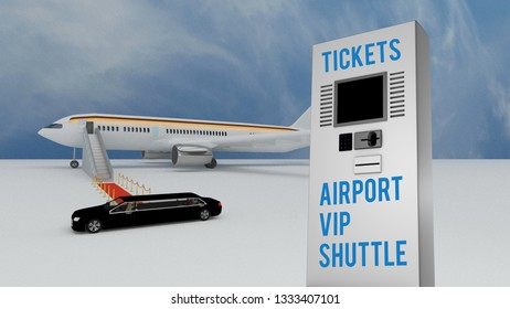 3D illustration of Stretch limousine delivering VIP airport passengers to a red carpet leading to an airplane on the runway with a sign for Tickets for the Airport VIP Shuttle service