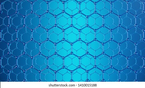 3d Illustration structure of the graphene or carbon surface, abstract nanotechnology hexagonal geometric form close-up, concept graphene atomic structure, concept graphene molecular structure.