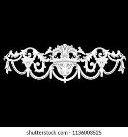 3d illustration stucco decoration, cartouche