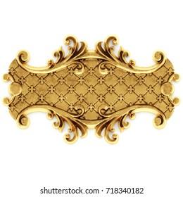 3d illustration stucco decoration, gold cartouche