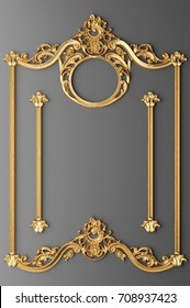 3d illustration stucco frame gold