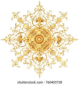 3d illustration stucco moldings, a gold ceiling rosette.