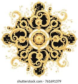 3d illustration stucco moldings, a gold ceiling rosette.