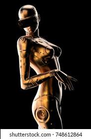 3D illustration. Stylish cyborg the woman. Futuristic fashion android.