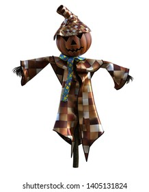 3D Illustration of a stylized pumpkin scarecrow for Halloween