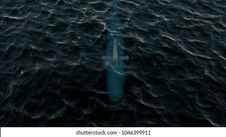 3D Illustration of a submarine patrolling just below the water's surface at periscope depth
