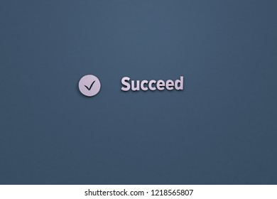 3D Illustration of Succeed with violet text on blue background