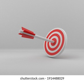 3D illustration for Success of the arrow bow to the target