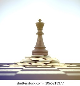 3d illustration - Successful Chess King on money stack over chessboard on white background.