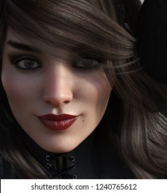 3d illustration of a sultry woman with dark eye shadow and bright red lipstick with brunette hair.