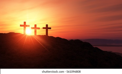 3D Illustration sunset scene three crosses on an hill 2