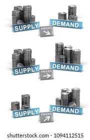 3D illustration of supply and demand principle. Generic coins over white background with prices directions