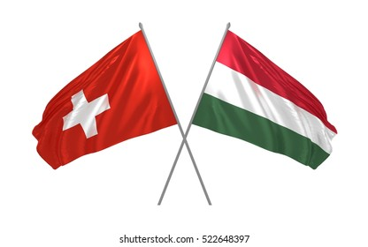 3d illustration of Switzerland and Hungary crossed flags waving