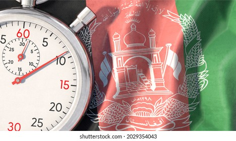 3D illustration, Symbolic image on the topic of Afghanistan and time. Stopwatch lies on Afghanistan flag.