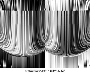 3D illustration. Symmetry and reflection. Monochrome abstract background. Black and white pattern. Halftone texture.