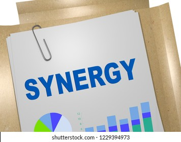 3D illustration of SYNERGY title on business document