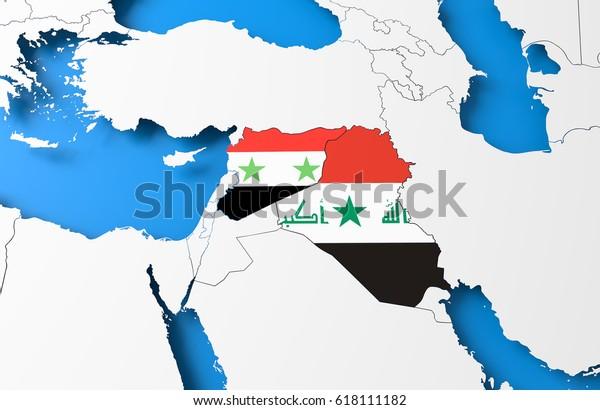 3d Illustration Syria Iraq Map Stock Illustration 618111182