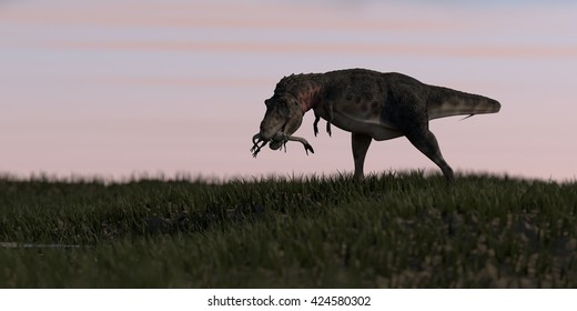 3d illustration of the tarbosaurus hunted coelophysis