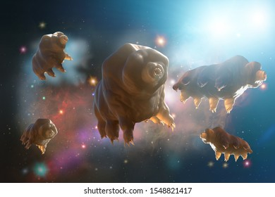 3D Illustration of a Tardigrada in space