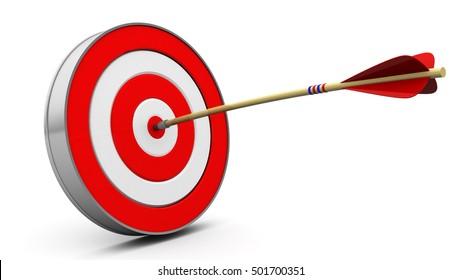 3D-Abbildung des Ziels mit Pfeil in der Mitte