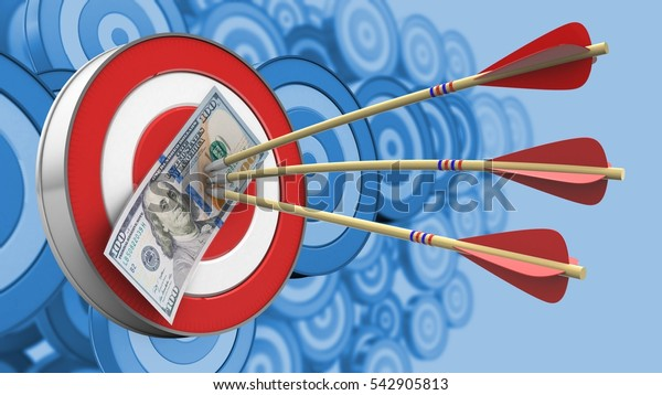 3d illustration of target with arrows and 100 dollars over many targets background