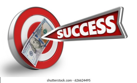 3d illustration of target with success arrow and 100 dollars over white background