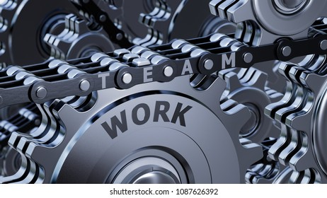 3D illustration - Team works like a machine