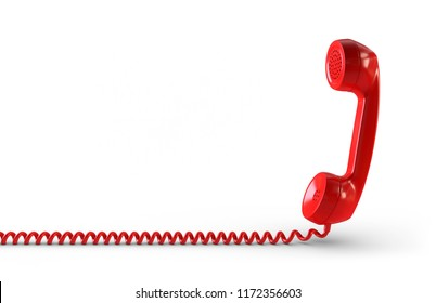 3d illustration telephone receiver red cut out