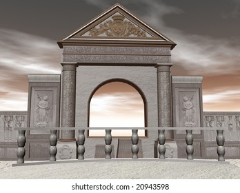 3D Illustration of a temple