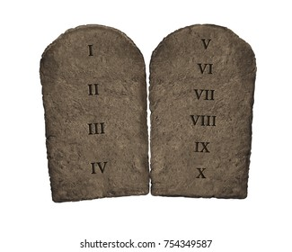 3D Illustration of Ten Commandments tablets
