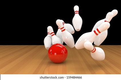 3D illustration of ten pins / skittles with red bowling ball