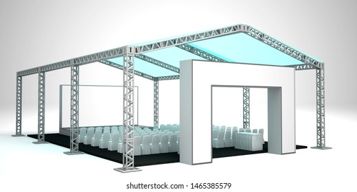 3d illustration tent with truss system (roder tent) layout theatre stage backdrop and gate and blank gate entrance for talkshow presentation. High resolution image white background isolated.