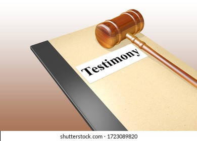 3D illustration of Testimony title on legal document, isolated over brown gradient.