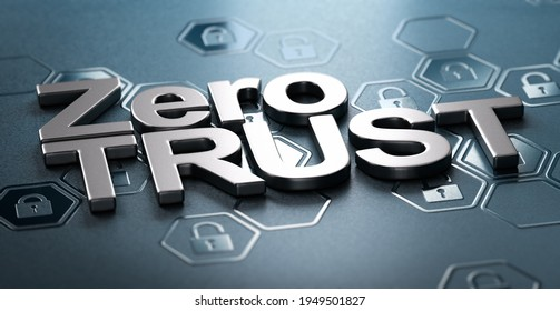 3D illustration of the text zero trust over black background with padlock shapes in relief. Concept of network security.