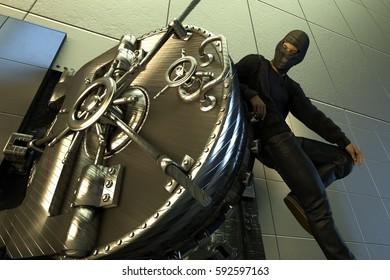 3D Illustration of the thief opens the safe
