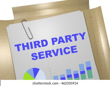 """3D illustration of """"THIRD PARTY SERVICE"""" title on business document"""
